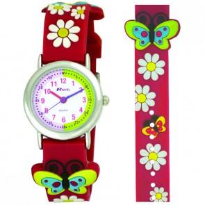 Ravel-Kid's Cartoon Time Teacher Watch - Flowers and Butterflies - Pink - 27mm