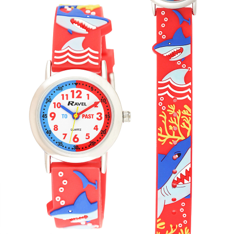 Ravel-Kid's Cartoon Time-Teacher Watch - Shark - Red - 27mm