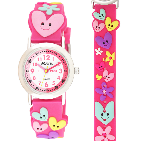 Ravel-Kid's Cartoon Time-Teacher Watch - Hearts and Flowers - Pink - 27mm