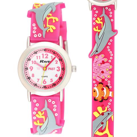 Ravel-Kid's Cartoon Time-Teacher Watch - Dolphin - Pink - 27mm