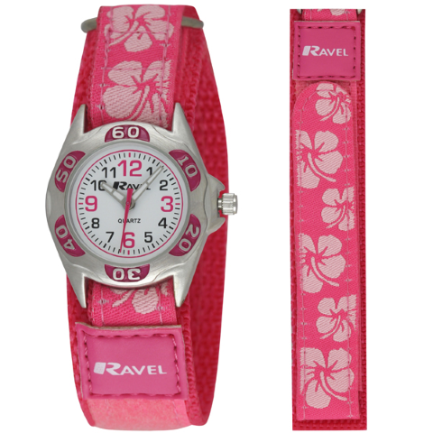 Ravel-Kid's Velcro Hibiscus Watch - PINK - 27mm