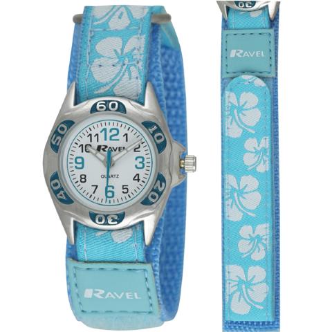 Ravel-Kid's Velcro Hibiscus Watch - Blue - 27mm