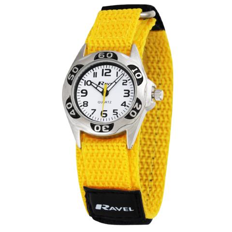 Ravel-Kid's Velcro Coloured Nylon Watch - Yellow - 27mm