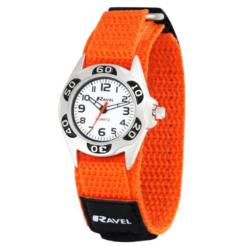 Ravel-Kid's Velcro Coloured Nylon Watch - Orange - 27mm