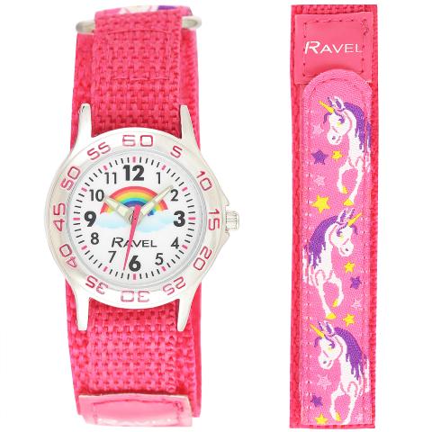 Ravel-Kid's Easy Fasten Unicorn Watch - Pink - 29mm