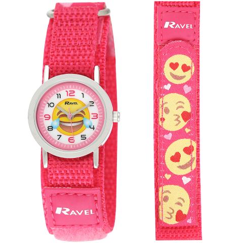 Ravel-Kid's Velcro Emoji Watch - Pink - 27mm