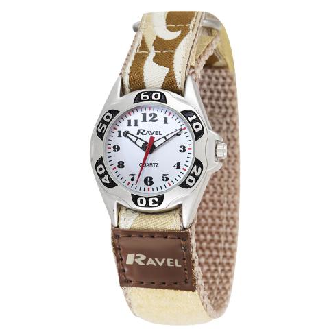 Ravel-Kid's Easy Fasten Army Camo Watch - Desert Sand / White - 27mm