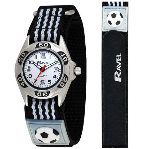 Ravel-Kid's Velcro Football Watch - Black - 27mm