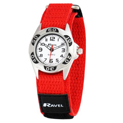 Ravel-Kid's Velcro Coloured Nylon Watch - Red - 27mm