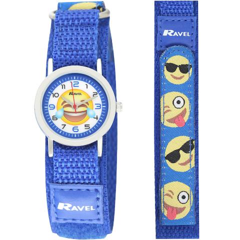 Ravel-Kid's Velcro Emoji Watch - Blue - 27mm