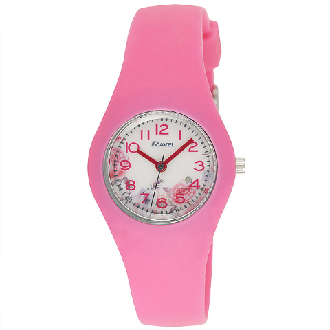 Ravel-Kid's silicone Floral Watch - Pink -  31mm