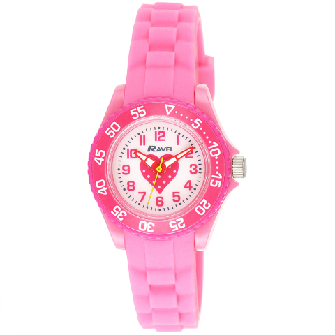 Kid's Silicone Heart Watch - Pink - Small