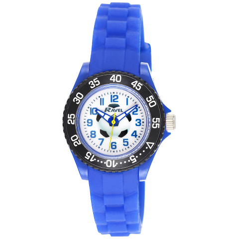Kid's Silicone Football Watch - Blue - Small