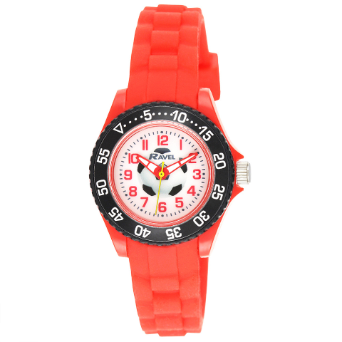 Kid's Silicone Football Watch - Red - Small