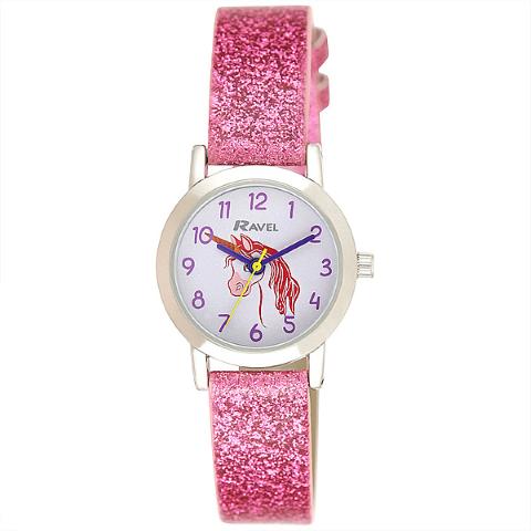Girl's Sparkle Glitter Watch - Unicorn - Pink - 25mm