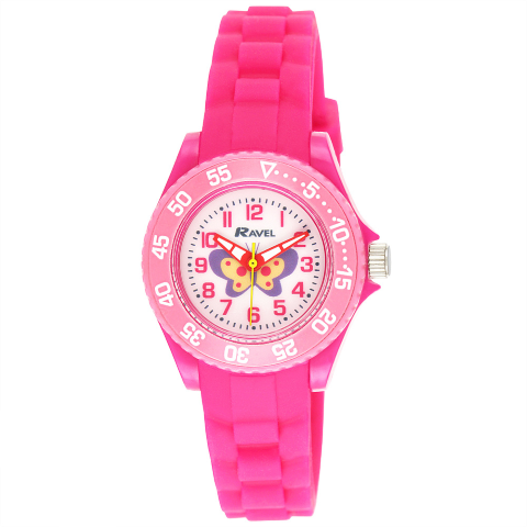 Kid's Silicone Butterfly Watch - Pink - Small