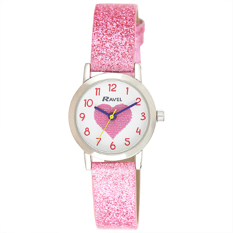 Girl's Sparkle Glitter Watch - Hearts - Pink - 25mm