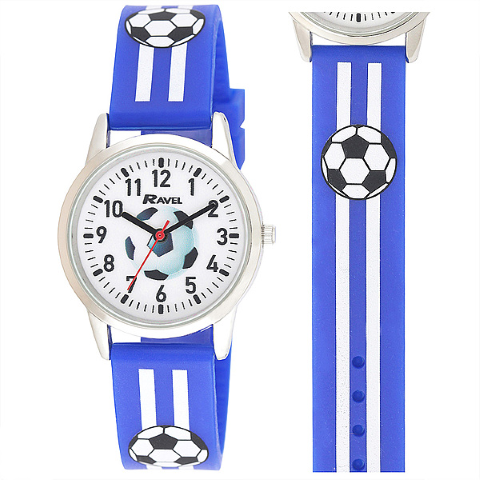 Ravel-Kid's Silicone Football Watch  - Blue - 32mm