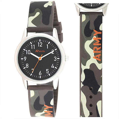 Ravel-Kid's Silicone Army Watch - Grey - 32mm
