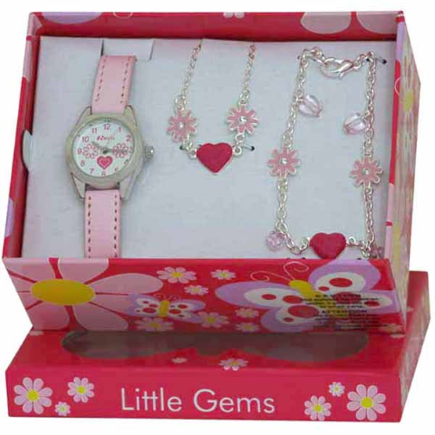 Little Gems - Hearts and Flowers - Pink - 24mm