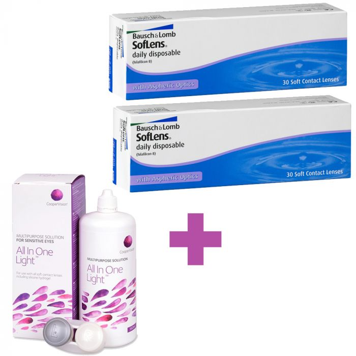 60 Daily Disposable Contact Lenses SofLens (2 packs) + 1 Lens Solution Cooper Vision All In One Light 360ml - 0.5