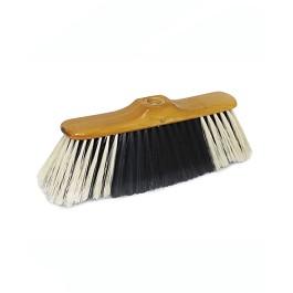 Σκούπα Luxe με ξύλινο κεφάλι. Δίχρωμη ίνα -Luxewooden broom head.Bicolour fibre. - Ξύλινο/ Μαύρο/ Άσπρο - Sweeping width: 32 cm. Fibres: 195 x 0,4 Ø mm. Broom-head: 230 x 50 x 14 mm..