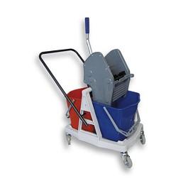 Διπλό καροτσάκι με 2 κουβάδες + Πρέσα / Eco Double Trolley + 2 Buckets + Stilo Wringer + Push-Handle  - Mπλε / Κόκκινο με Γκρίζο σκελετό - Χωρητικότητα: 2 x 18 λίτρα.  Μέγεθος: 45 x 80 x 95