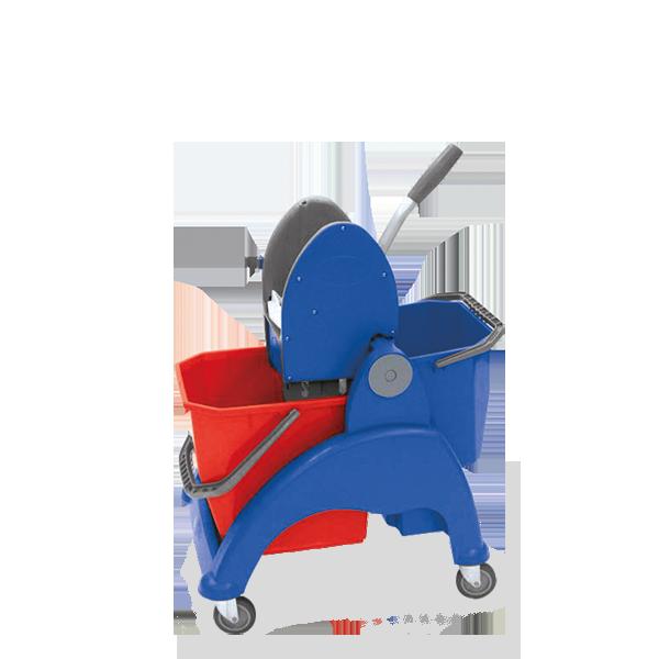 SKY COMPACT Duo τρόλεϊ σφουγγαρίσματος με διπλούς κουβάδες  - Μπλε και Κόκκινο με Μπλε σκελετό - MOP BUCKET CAPACITY: 25L +12 L MOP BUCKET SIZE: 61x46x88h cm