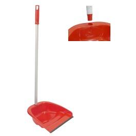Niko Dustpan W / Rubber Blade And Screwed Metallic Handle - Red