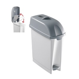 Sanitary Toilet Container 'For Lady'  - White/ Grey cover - Size: 20 x 42 x 54 cm. Capacity: 17 litres.