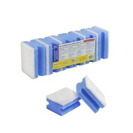 Hand Grip Non Scratch Sponge Scourer. Pack-6 - Blue / White  - 7 x 9 cm