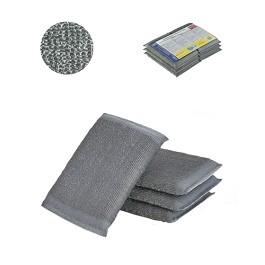 Stainless Steel Sponge Scourer. Pack-6 - Grey - 10 x 14 cm