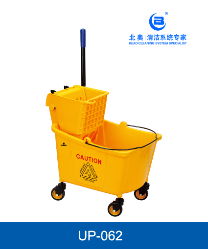 Ηeavy-duty single mop side press wringer trolley, mop bucket with 4 wheels - Υellow - MOP BUCKET CAPACITY: 30L. MOP BUCKET SIZE: 50(L)X30(W)X55(H)CM