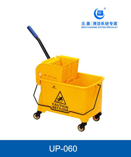 Eco-Friendly small size single mop side press wringer trolley,mop bucket with 4 wheels -  Υellow 42(L) X 27.5(W) X28(H) CM - MOP BUCKET CAPACITY: 20L