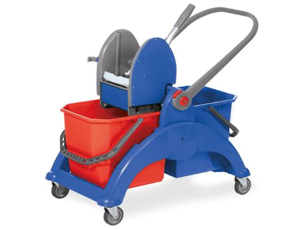 SKY 2.25 DUO / τρόλεϊ σφουγγαρίσματος με διπλούς κουβάδες, Duo mop trolley, chromium plated, equipped with 2 Χ 25 . lt buckets,wringer for kentucky mops, - Μπλε / Κόκκινο με Μπλε σκελετό
