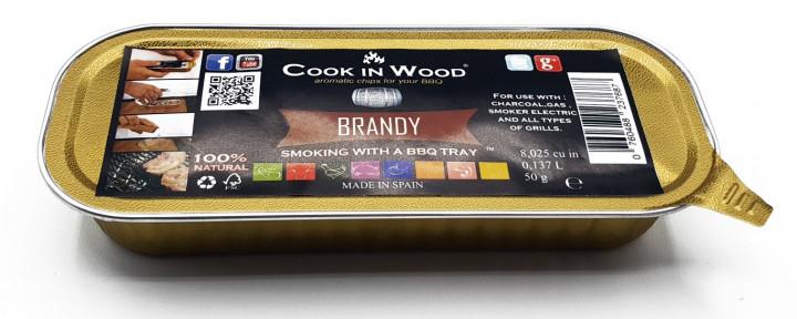 COOKINWOOD 50gr IN ALUMINIUM TRAY BRANDY SMOKING CHIPS