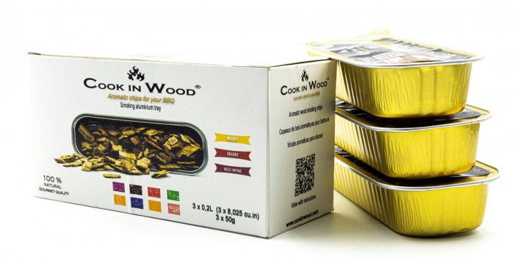COOKINWOOD 50gr IN ALUMINIUM TRAY 3 PACK X 50gr - WHISKEY/BRANDY/RED WINE SMOKING CHIPS