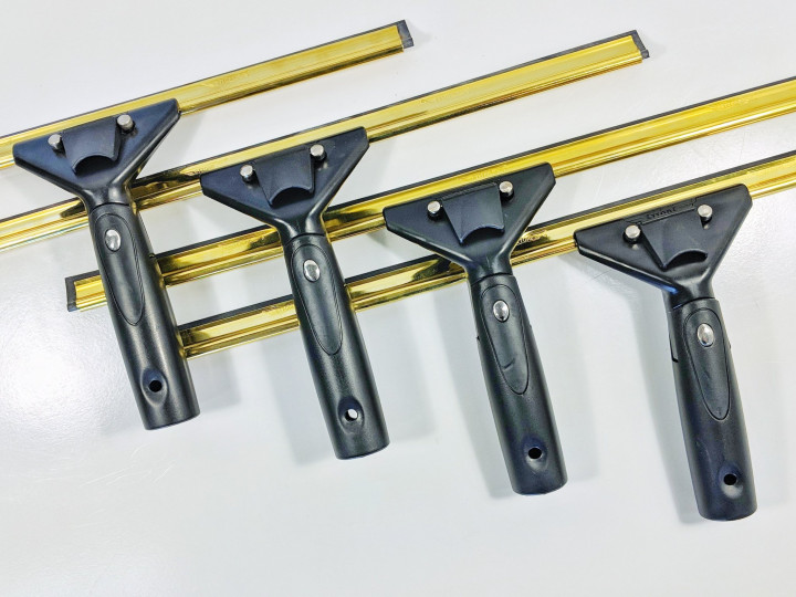 Super System Handle & Brass Channel 14'' Squeegee Complete /    Υαλοκαθαριστήρας με σπαστή λαβή και ορειχάλκινη ράγα                               - Black and Golden  - 35 cm