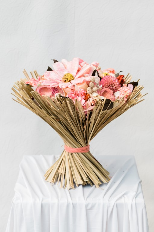 DRIED BOUQUET - PINK / WHITE / IVORY - 35x 30 cm