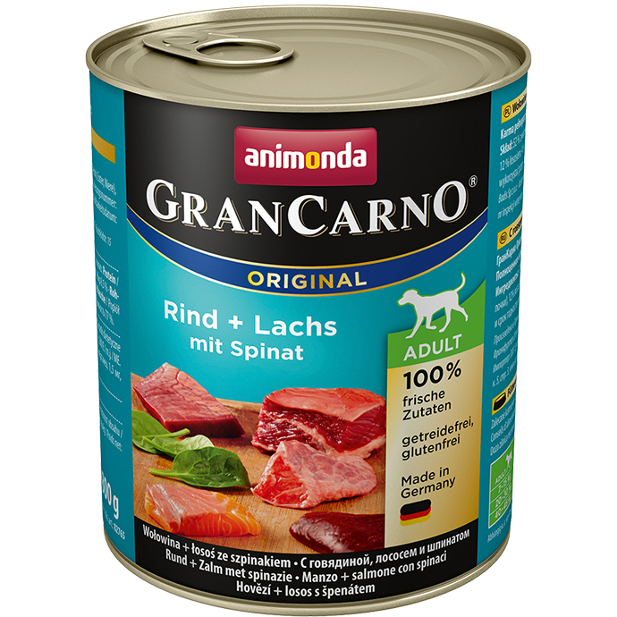 ANIMONDA Gran Carno Adult Beef, Salmon and Spinach 800g