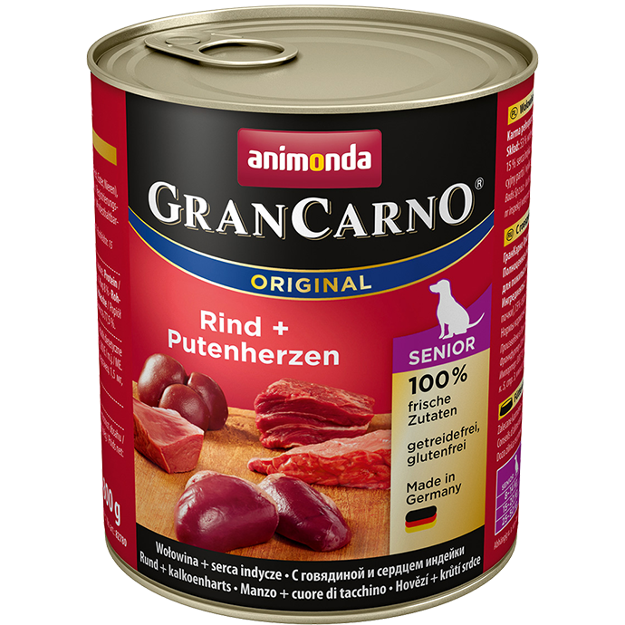 ANIMONDA Gran Carno Senior Beef and Turkey Hearts 800g