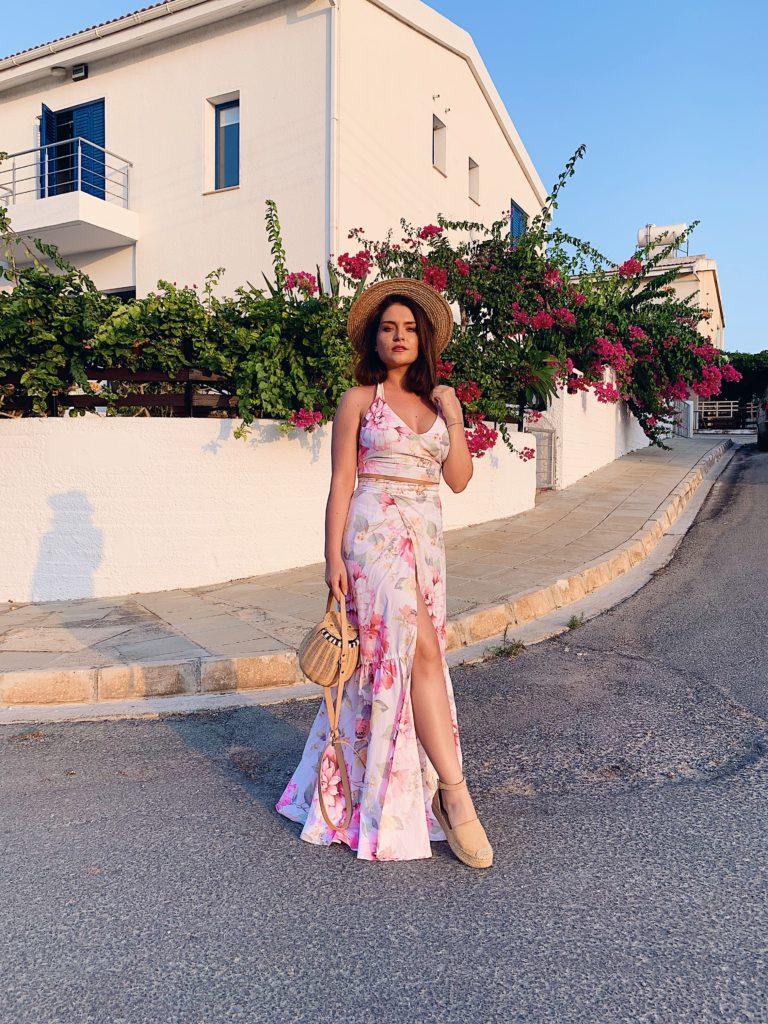 BELLEROSE Skirt - Pink Floral Pattern - Medium/Large