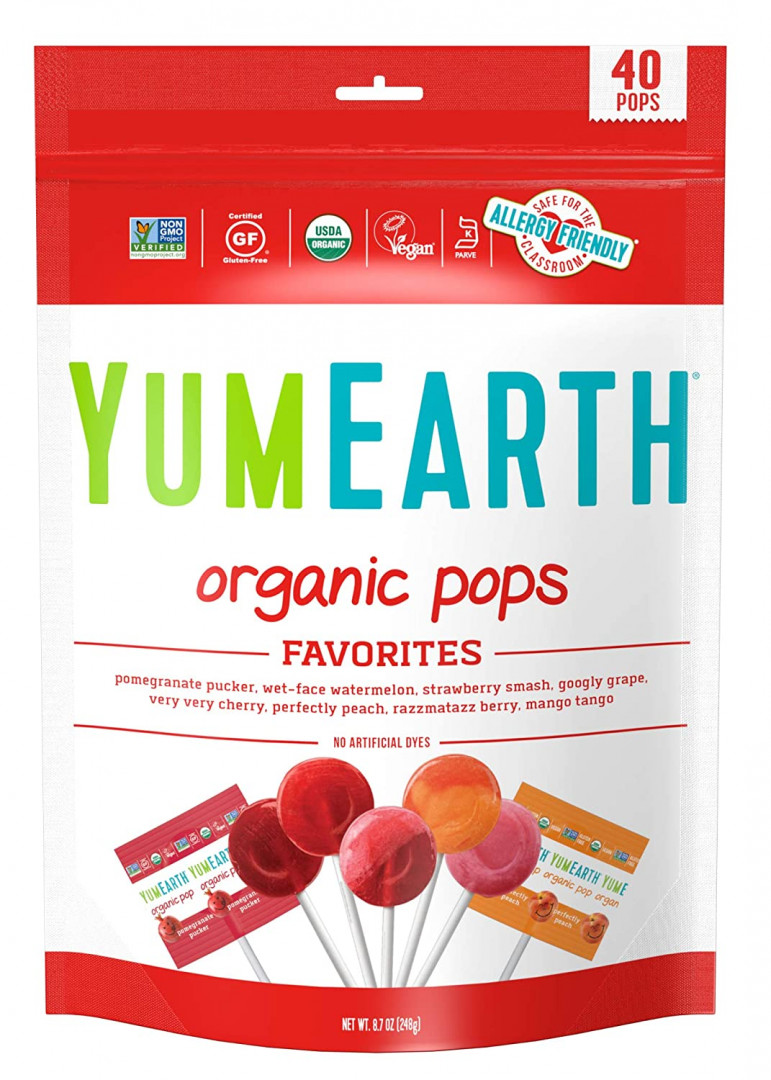 YUMEARTH ASSORTED FRUIT FLAVORED LOLLIPOPS 100PCS