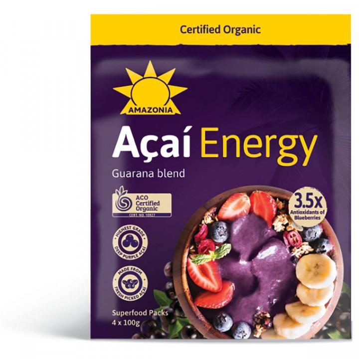AMAZONIA ACAI ENERGY - FROZEN ORGANIC ACAI & GUARANA BLEND 4X 100g
