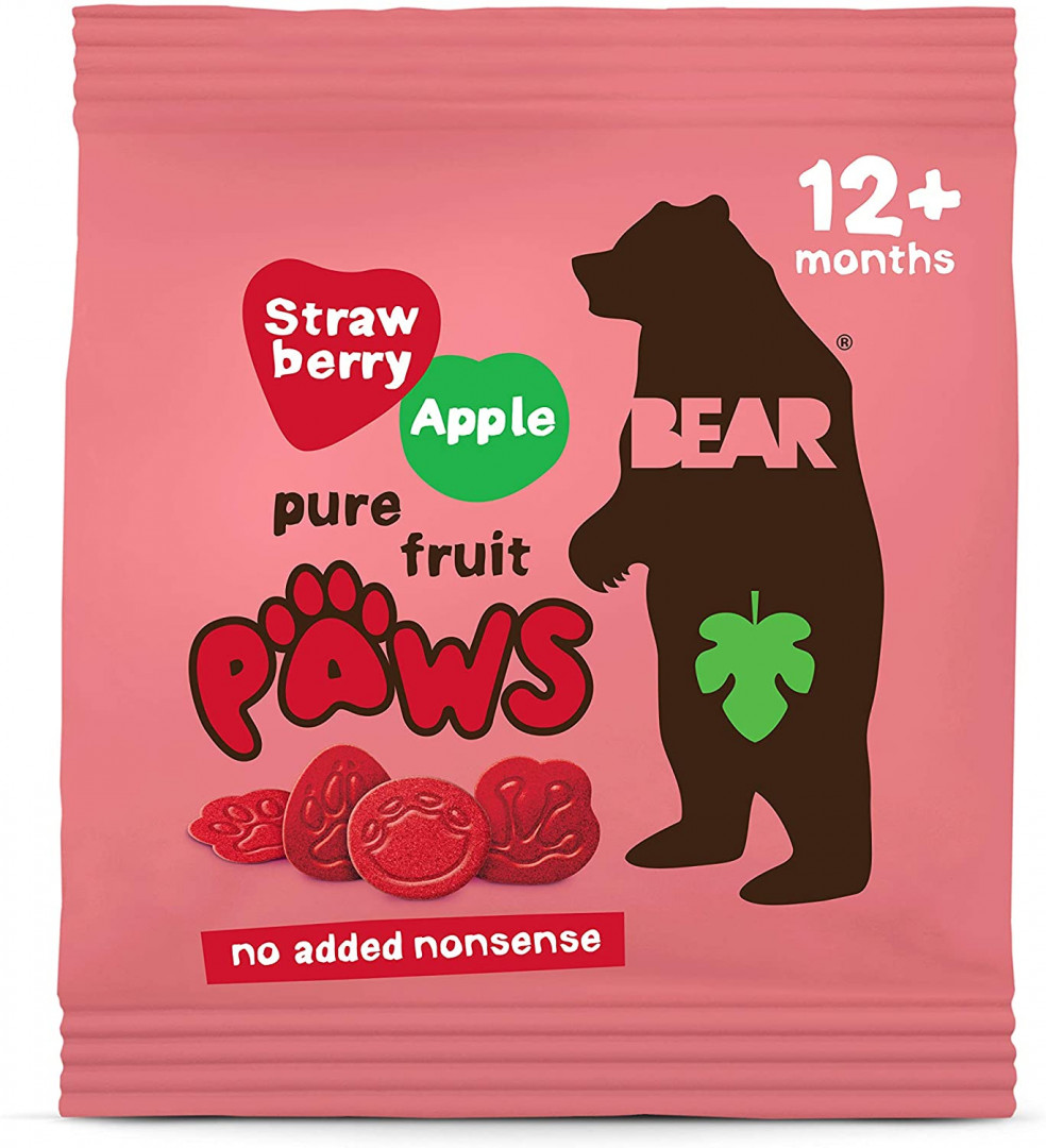 BEAR - STRAWBERRY/APPPLE PAWS (5 X 20g BAGS) 12+ MONTHS