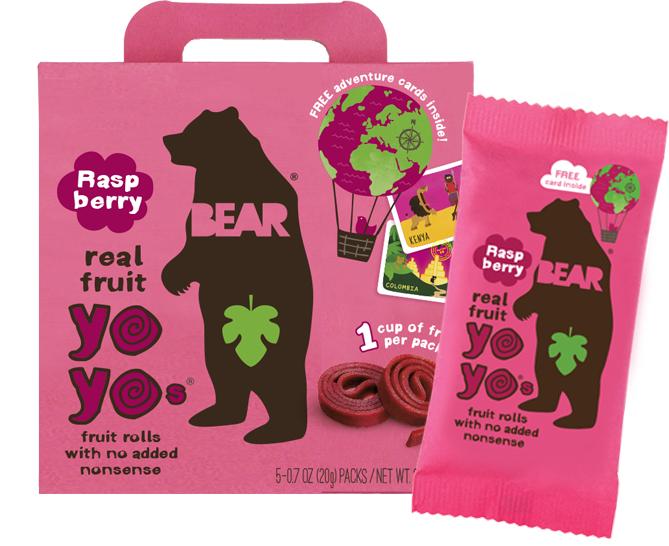 BEAR - RASPBERRY YO YOs - 10 FRUIT ROLLS (5 PACKS)