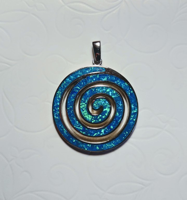 Circle of Life / Spiral Pendant - Blue - 3,7x3,7cm