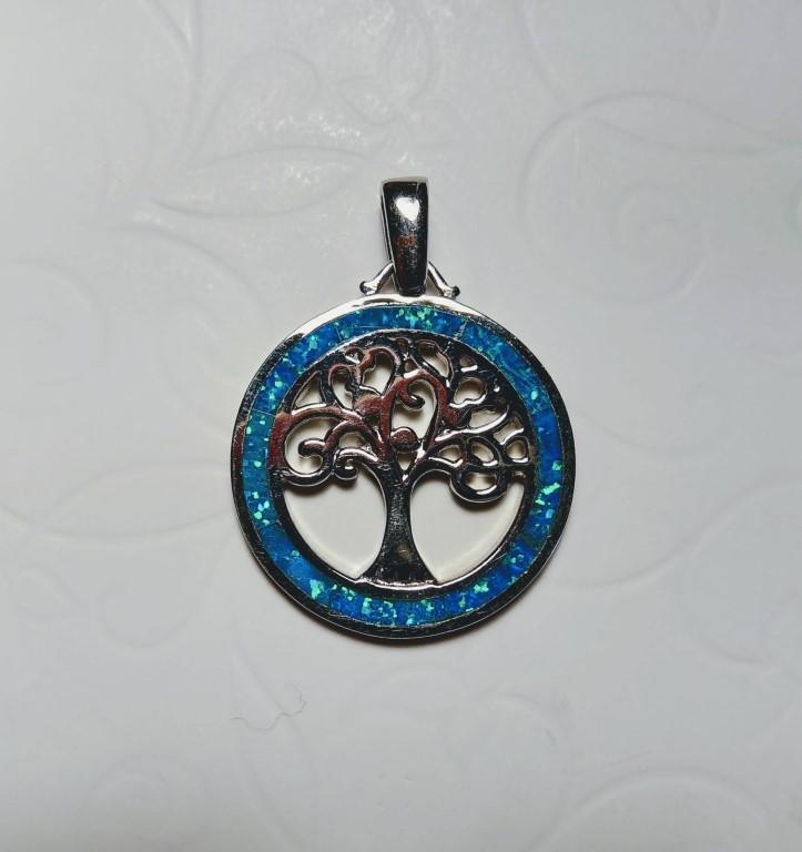 Tree of Life Pendant - Blue - 2,5x2,5cm
