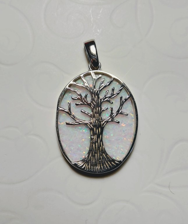 Tree of Life Pendant - White - 2,3x3cm