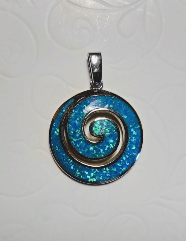 Circle of Life / Spiral Pendant - Blue  - 2,5x2,5cm